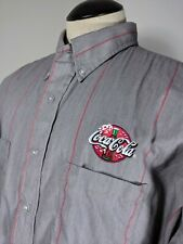 Coca Cola Men's Button Down Long Sleeve Employee Work Shirt Gray Stripe 19.5 -02