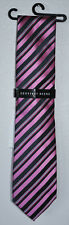 Geoffrey Beene Men's Neckwear Neck Tie Charcoal & Pink Striped