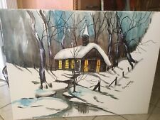 Anna Sandhu Ray Winter Scene Oil And Acrylic 30X40 Signed