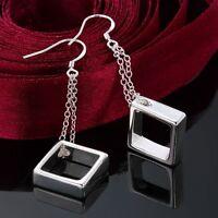 Women Fashion 925 Sterling Silver Plated Drop Dangle Square Hoop  Hook Earrings