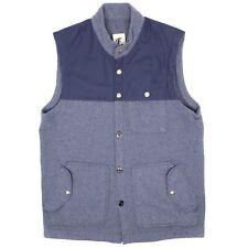 Freeman Seattle Mens Gillet Vest 38 Blue Wool Fleece Nylon Yoke Button Snap USA