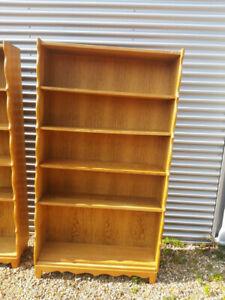 vintage retro antique Danish Mid Century oak wooden Book case Shelves cabinet