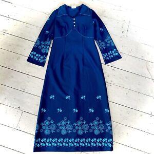 Vintage 1960's Metallic Thread Detail Maxi Dress Size 14/16