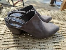 sz 39 1/2 - Officine Creative Gray suede slingback pointed mules designer $560