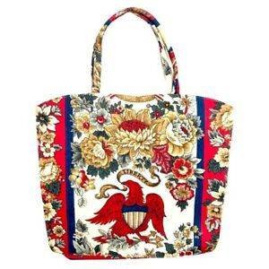 MARGARET SMITH Gardiner, Maine Fabric Bag 1776 Floral Eagle Design Americana