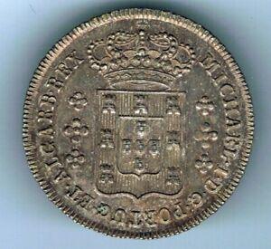 1828-34 Portugal 120 Reis 6 Vintens silver coin : 3.6g
