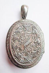 Antique Victorian Silver Large Oval Pendant Hinge Engraved Picture Locket Floral
