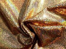 Pigskin leather hide skin Holographic Metallic Rainbow Gold Crackle -Amazing!!
