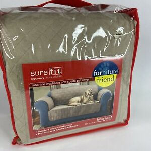 Sure Fit Furniture Slipcover Loveseat Friends Pets Kids Cover Taupe New