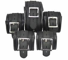 Black Real Leather 5 X Restraints Set,Bondage padded,Fesselset,foot+Hand,Neck