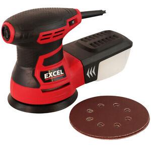 """Excel 5"""" Random Orbital Sander 350W 125mm with Dust Box & Sanding Discs 240V"""