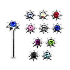 10 Pcs 22 G 9 mm 925 Sterling Silver 3 mm Jeweled Flower Nose Straight Stud Pier
