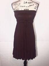 India Boutique Strapless Tube Dress Womens Size S Small Tie-Front Solid Brown