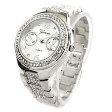 New Silver Bracelet 3D Geneva Crystal Bezel Small Size Women's Watch