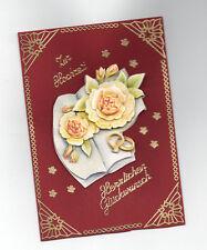 3D Glückwunschkarte zur Hochzeit ,Grußkarte rot, Blumen,K1