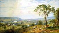 Painting Landscape Cropsey Valley Wyoming Old Large Replica Canvas Art Print