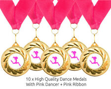 10 x Freestyle Dance Metal Medals + Ribbons High Quality Free Delivery