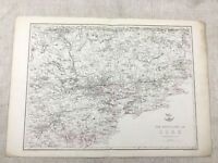 1857 Antik Map Of Kork Irland Alte Hand- Farbig 19th Jahrhundert Original