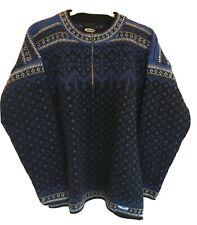 Reusch Men's Sz M Quarter Zip Wool Long Sleeve Black Blue White Ski Sweater Rare
