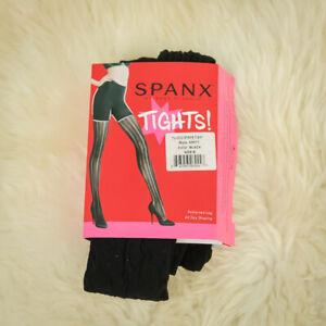Spanx Size B Tights Black Tuxedo Stripe Shaping Firming Semi Opaque Foot NWT