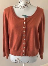 Artigiano Rust / Burnt Orange Cashmere Cotton Blend Button Up Cardigan Size L
