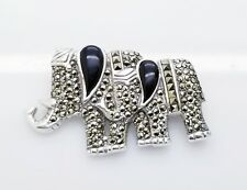 Marcasite Black Onyx Brooch Solid Sterling Silver/925 Elephant
