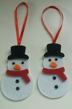 6 Felt Snowman.Christmas tree decorations.Thick felt with black jewel eye 8x5cm