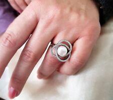 Silberring Echt 925er Sterling Silber+Süßwasser Perle+6,1 Gram+Größe verstellbar