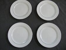 4 Gibson Everyday Salad Plates White W/ Silver Trim - EUC - FREE SHIPPING