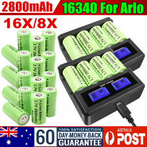 16/8x 2800mAh 16340 CR123A Rechargeable Battery & USB Charger for Arlo Camera