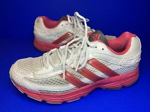 Adidas Falcon Elite 3 Running Trainers Vintage White- Pink Size 6 Uk
