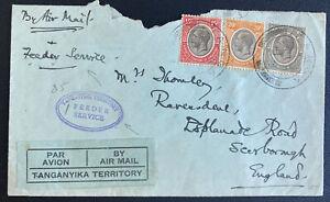 1934 Tanga Tanganyika Airmail Cover To England Feeder Service