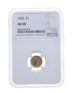 AU58 1853 $1 Liberty Head Gold Dollar - Graded NGC *4712