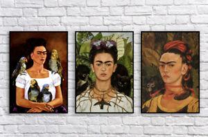 Set of 3 Frida Kahlo Self Portrait Painting Prints / Fine Art / Wall Decor