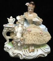Victorian Woman Porcelain Figurine Sitting at Vanity Dressing Table Vintage Lace