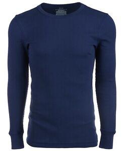 New Alfani Men's Size Medium (39-41) Navy Thermal Knit Waffle Shirt