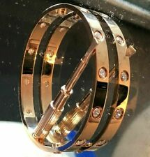 Cartier LOVE 10 Diamond Bracelet Size 16 in 18k Rose Gold w COA