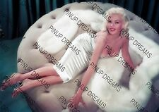 Vintage A4 Photo Poster Wall Art Print of Jayne Mansfield Posing on a Sofa