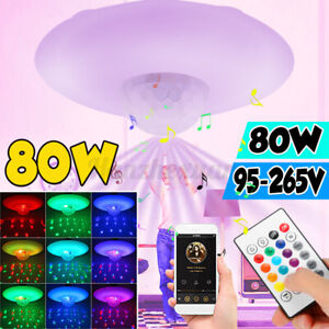 80W Smart RGB LED Ceiling Light bluetooth Dimmable APP Music Speaker Lamp Remote