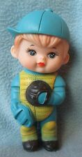 "VINTAGE SQUEEZE TOY ADORABLE BASEBALL CATCHER BOY 6"" FIGURE, Squeeze Works Fine"