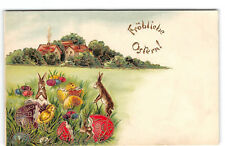 Easter-Frohliche Ostern!-German-Rabbits-Chicks-Cottage-Gold Embossed-Postcard