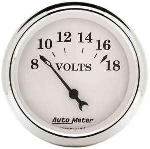 Old Tyme White 2 1/16in Voltmeter 8 18
