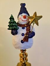 Blue Hat Christmas Snowman Holding A Star & Tree NEW