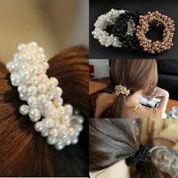 Fashion Lady Women Crystal Beads Hair Band Rope Scrunchie Ponytail< X0N9