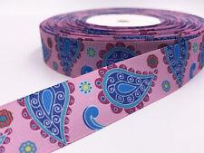 5 Yard 1'' 25mm Pink print patterns bow Ribbon Crafts Sewing  Grosgrain Ribbon