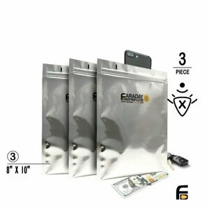"Faraday Cage EMP ESD Bags 7mil 3pc 8""x10"" BULK LOT iPad, Tablet, Hard Drive"