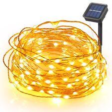Warmweiß 10M LED Solar Lichterkette Weihnachten Deko Beleuchtung Draht Leuchte