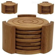 New 7 Piece Coaster Set Bamboo Drink Cup Holder Kitchen Bar Table Wood Decor NEW