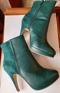 H&M GREEN ANKLE BOOTS HIGH HEELS SIZE 39/6 USED VGC