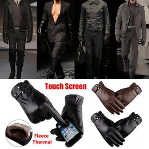 Winter Warm Men's Fleece Thermal Leather Gloves Touch Screen Driving Gloves AU